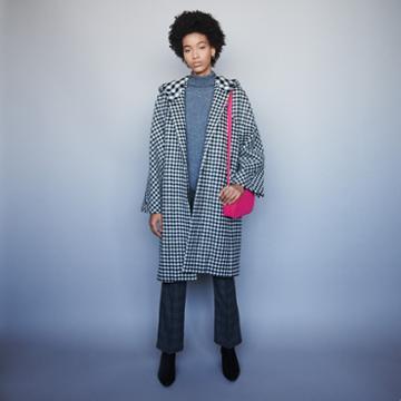 Maje Wool Plaid Coat