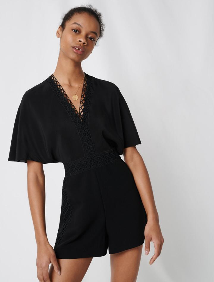 Maje Playsuit With Lace Details