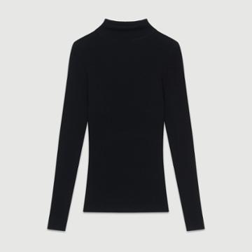Maje Turtleneck Skinny Ribbed Sweater
