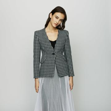Maje Wool Houndstooth Jacket