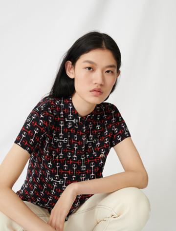 Maje Printed Short-sleeved Shirt