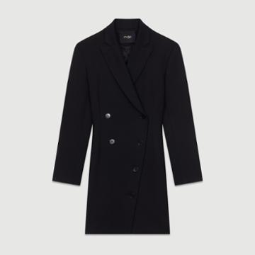 Maje Dress Coat In Wool Blend