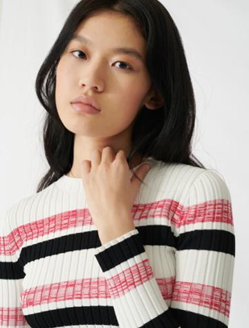Maje Striped Ribbed Knit Jumper