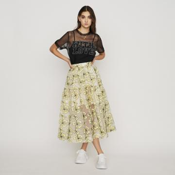 Maje Organza Skirt With Flowers