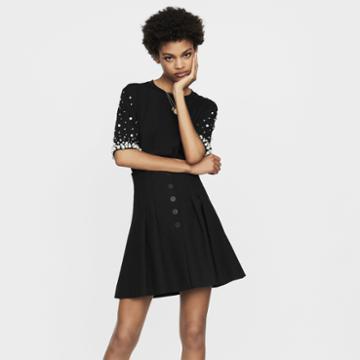 Maje Short Pleated Skirt