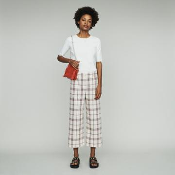 Maje Wide Leg Plaid Pants