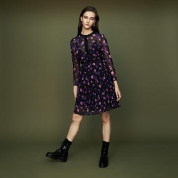 Maje Printed Dress With Pleated Skirt