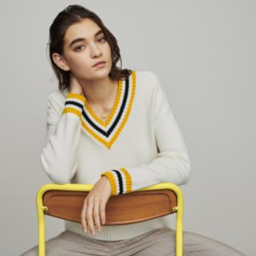 Maje Sweater With Contrasted Bands