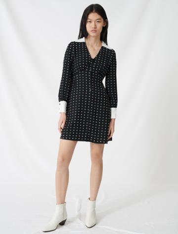 Maje Polka Dot Dress With Contrasting Details