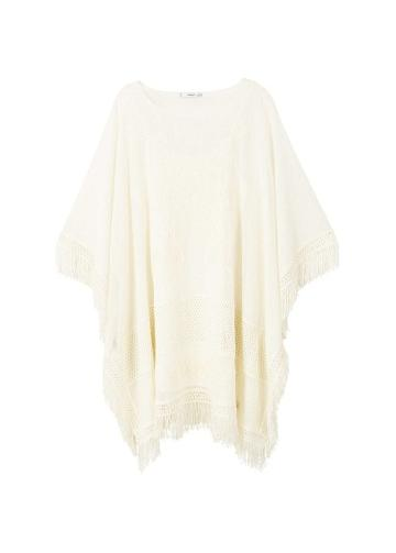 Mango Mango Embroidered Fringed Poncho