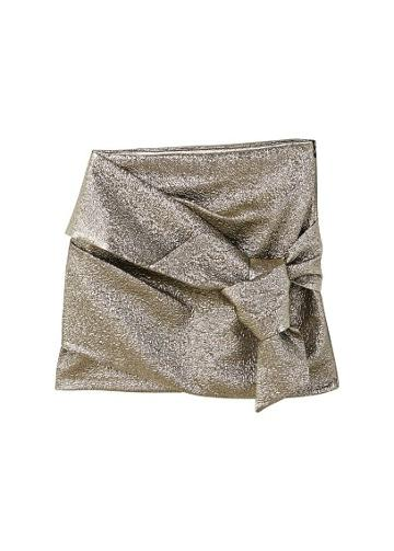 Mango Mango Knot Metallic Skirt