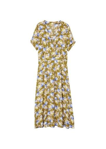 Mango Mango Floral Wrap Neckline Dress
