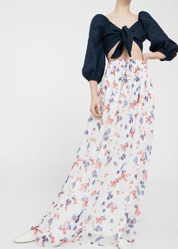 Mango Mango Floral Long Skirt