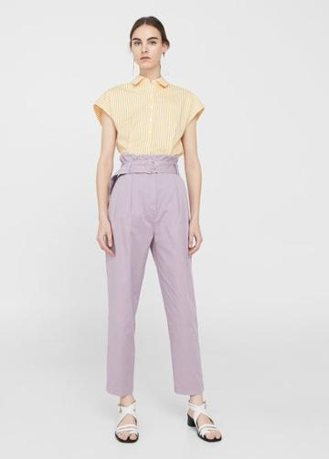 Mango Mango Buckle Pleated Trousers