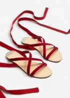 Mango Mango Velvet Strappy Sandals