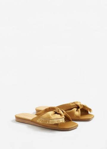 Mango Mango Bow Satin Sandals