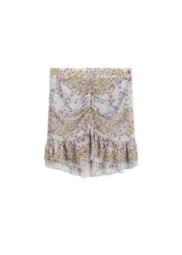 Mango Mango Ruffle Flower Print Miniskirt