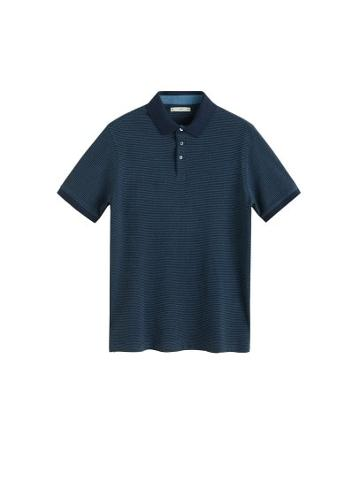 Mango Man Mango Man Stripe Textured Cotton Polo Shirt
