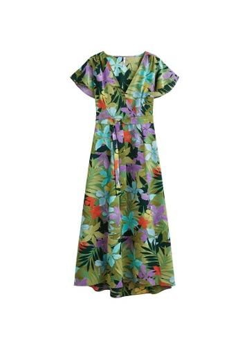 Mango Mango Crossover Tropical Dress