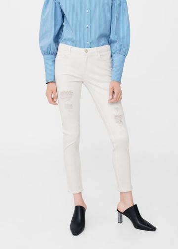 Mango Mango Ripped Details Slim-fit Jeans