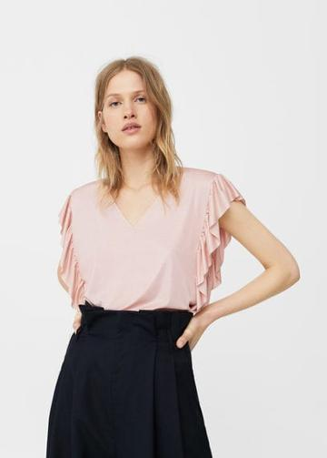 Mango Mango Ruffled Shiny T Shirt