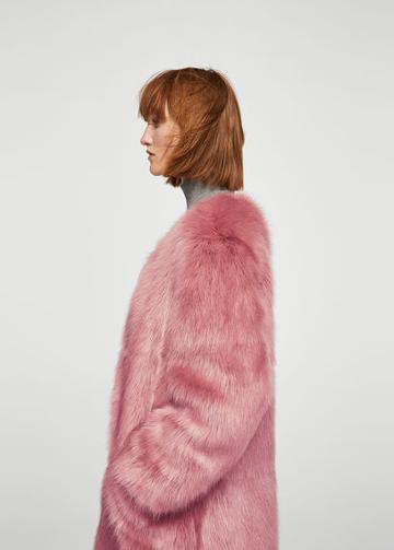 Mango Mango Brooch Faux Fur Coat