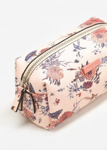 Mango Mango Floral Saffiano-effect Cosmetic Bag