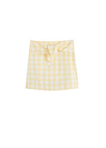 Mango Mango Knot Gingham Check Miniskirt
