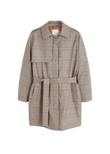 Mango Mango Checkered Quilted Trench