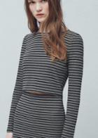 Mango Mango Striped Crop T Shirt