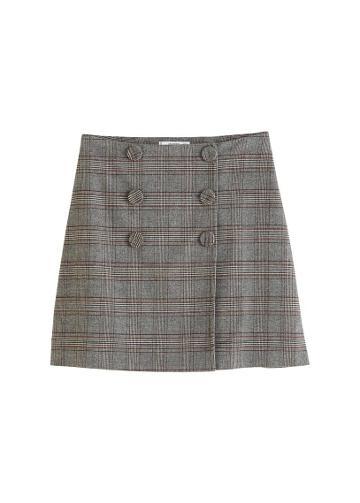Mango Mango Buttoned Checked Skirt