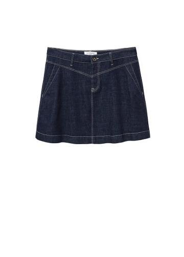 Violeta By Mango Violeta By Mango Contrast Seams Denim Skirt
