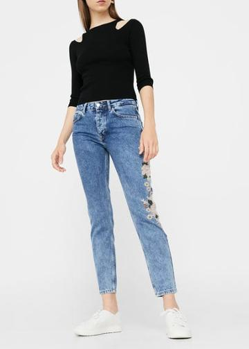 Mango Mango Embroidered Straight Spring Jeans