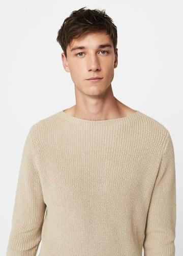 Mango Man Mango Man Knitted Braided Cotton Linen Sweater
