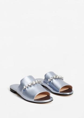 Mango Mango Crystal Metallic Sandals