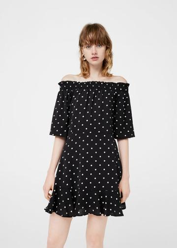 Mango Mango Off-shoulder Polka-dot Dress