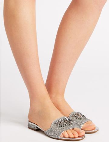 Marks & Spencer Block Heel Jewel Sparkle Mule Sandals Silver