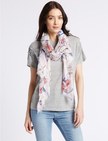 Marks & Spencer Nautical Tattoo Print Scarf Cream Mix