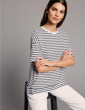 Marks & Spencer Pure Cotton Striped Short Sleeve Top White Mix