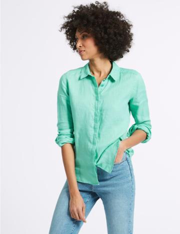 Marks & Spencer Pure Linen Long Sleeve Shirt Medium Aqua