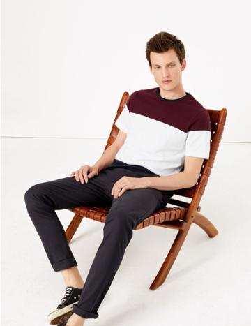 Marks & Spencer Cotton Colour Block Pique T-shirt Navy