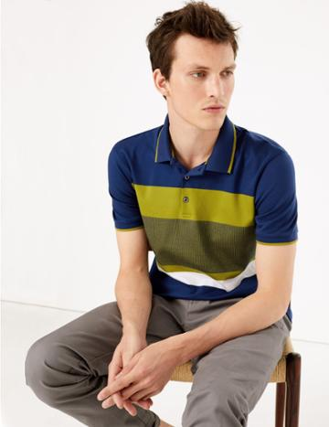 Marks & Spencer Cotton Striped Polo Shirt Marine