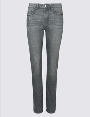 Marks & Spencer Mid Rise Slim Leg Jeans Grey Mix
