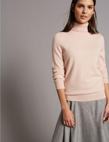 Marks & Spencer Pure Cashmere Polo Neck Jumper Blush