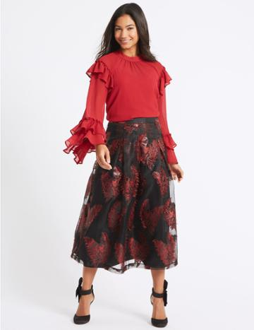 Marks & Spencer Feather Flared Jacquard A-line Midi Skirt Black Mix