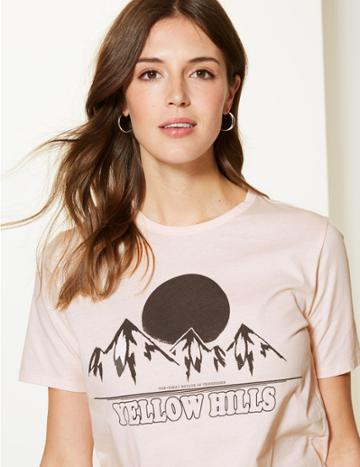 Marks & Spencer Pure Cotton Yellow Hills Straight Fit T-shirt Blush