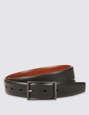 Marks & Spencer Leather Buckle Reversible Belt Navy Mix