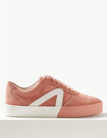 Marks & Spencer Suede Lace-up Trainers Blush
