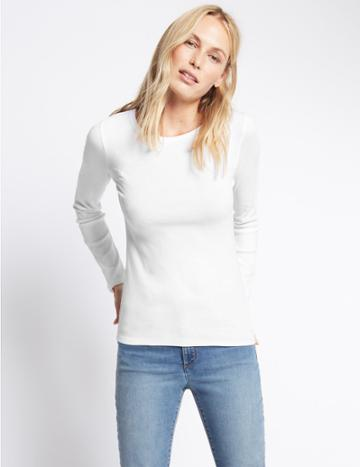Marks & Spencer Pure Cotton Round Neck Long Sleeve T-shirt White