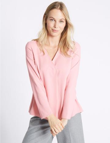 Marks & Spencer V-neck Long Sleeve Blouse Pink